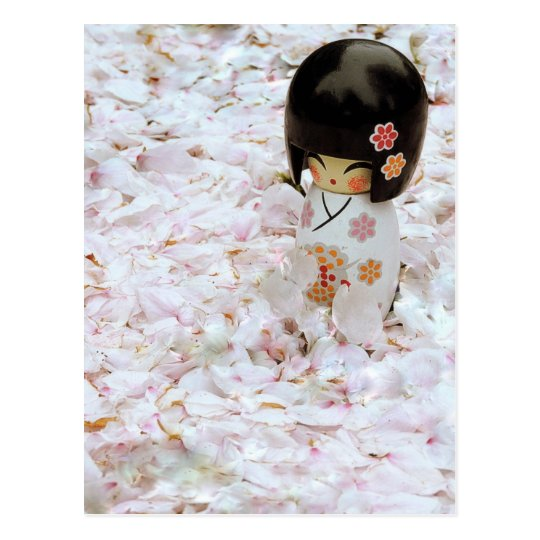 Cute Wooden Japanese Doll Postcard