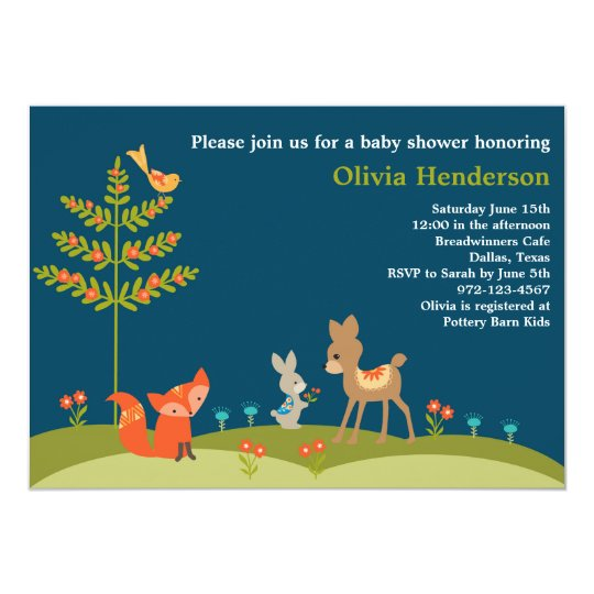 Cute Woodland Animal Baby Shower Invitations
