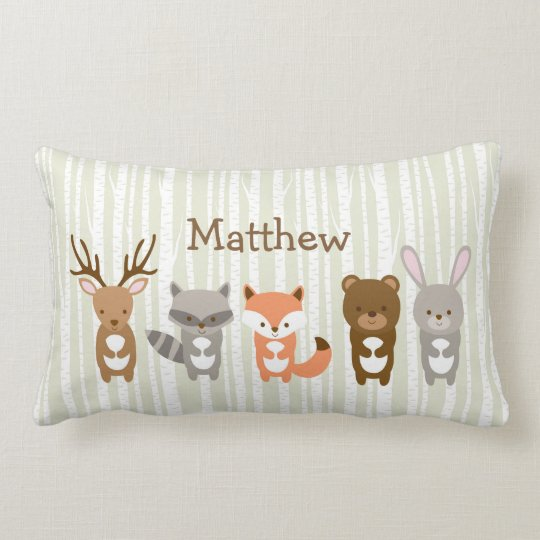 Cute Woodland Animal Lumbar Cushion