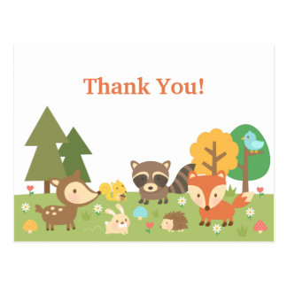 Cute Woodland Animal Thank You Postcard