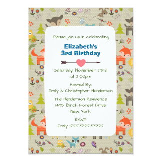 Cute Woodland Animals and Flowers Birthday Invite