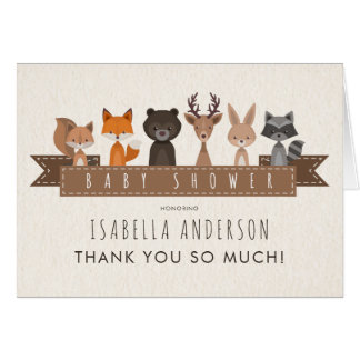 Cute Woodland Animals Baby Shower | Thank You Card