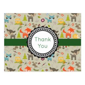 Cute Woodland Animals & Flowers Pattern Thank You Postcard