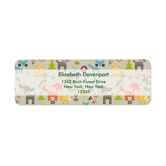 Cute Woodland Animals Illustrated Pattern Return Address Label