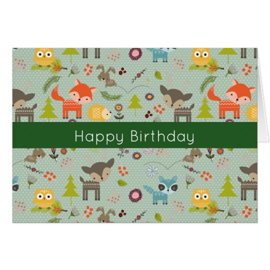 Cute Woodland Animals Illustration Happy Birthday Card