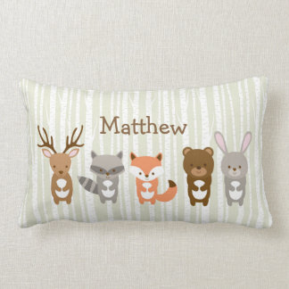 Cute Woodland Animals Personalized Pillow