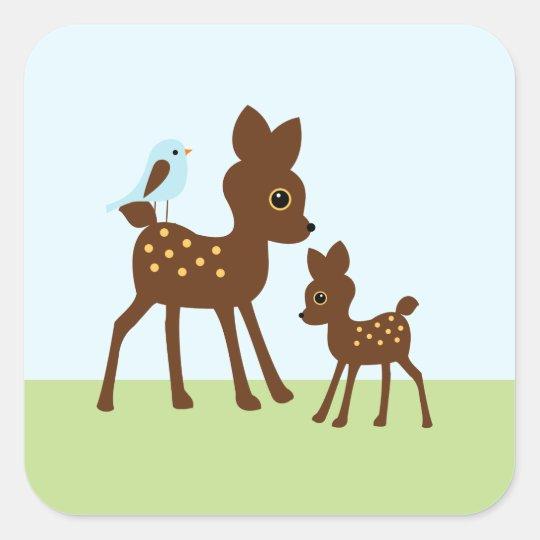 Cute Woodland Animals Square Sticker