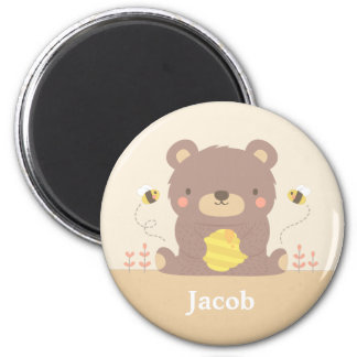 Cute Woodland Bear and Bees For Kids 6 Cm Round Magnet