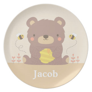 Cute Woodland Bear and Bees Kids Plates