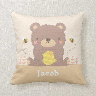 Cute Woodland Bear and Bees Nursery Room Decor Throw Pillow
