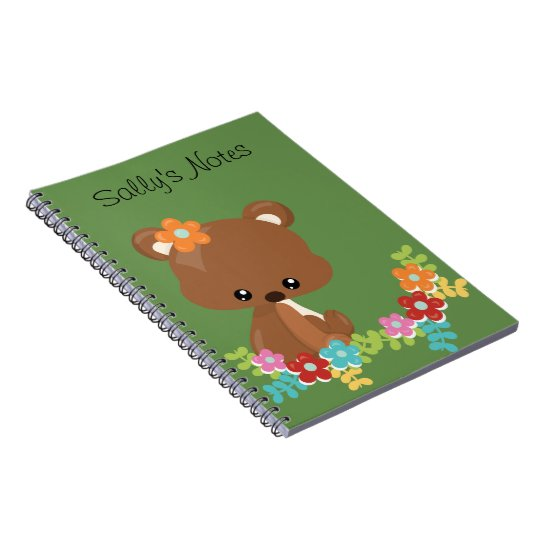 Cute Woodland Bear Cub Personalised Notebook