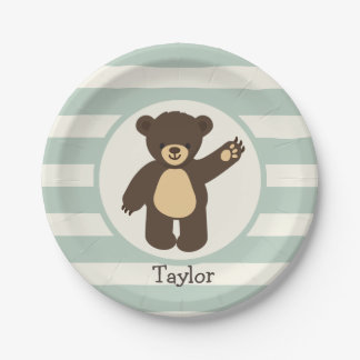 Cute Woodland Brown Bear; Sage Green Stripes 7 Inch Paper Plate