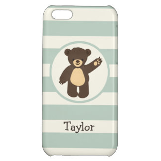 Cute Woodland Brown Bear; Sage Green Stripes Case For iPhone 5C