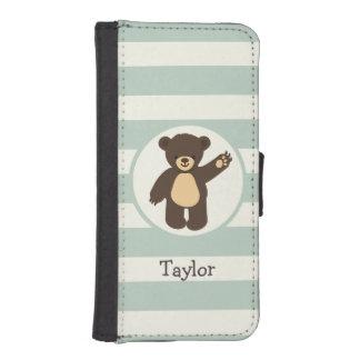 Cute Woodland Brown Bear; Sage Green Stripes Phone Wallets