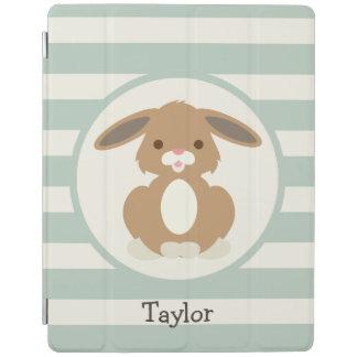 Cute Woodland Bunny Rabbit on Light Sage Green iPad Cover