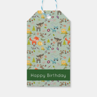 Cute Woodland Creatures Animal Pattern Birthday Gift Tags