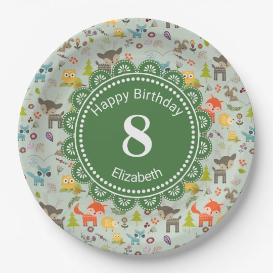 Cute Woodland Creatures Animal Pattern Birthday Paper Plate