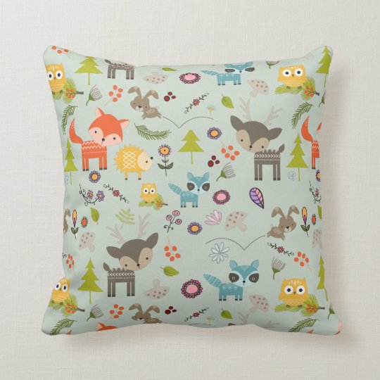 Cute Woodland Creatures Animal Pattern Cushion