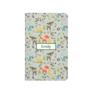 Cute Woodland Creatures Animal Pattern Journal