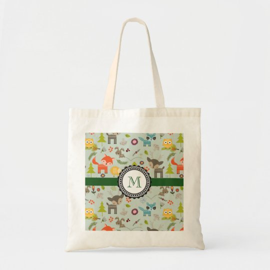 Cute Woodland Creatures Animal Pattern Monogram Tote Bag
