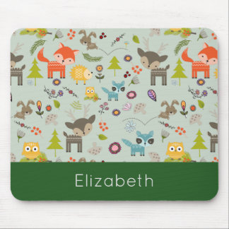 Cute Woodland Creatures Animal Pattern Mouse Pad