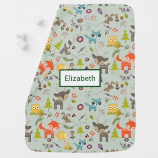 Cute Woodland Creatures Animal Pattern Receiving Blankets