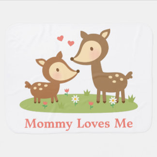 Cute Woodland Deer Mother and Child For Babies Baby Blanket
