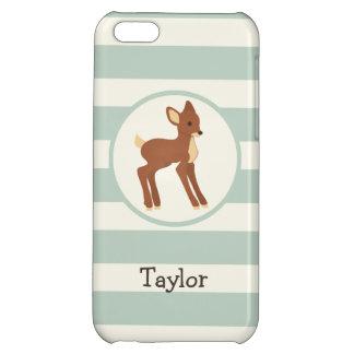 Cute Woodland Deer; Sage Green Stripes iPhone 5C Case