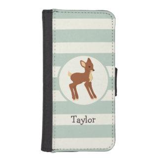 Cute Woodland Deer; Sage Green Stripes Phone Wallet