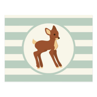Cute Woodland Deer; Sage Green Stripes Postcard