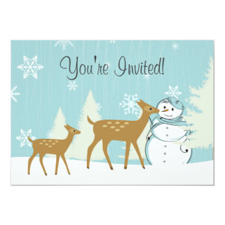 Cute Woodland Deer with Snowman Winter Baby Shower Card