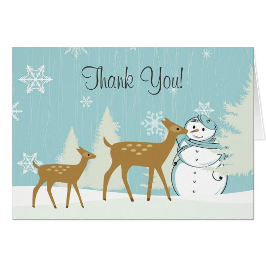 Cute Woodland Deer with Snowman Winter Thank You