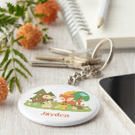 Cute Woodland Forest Animal For Kids Basic Round Button Key Ring