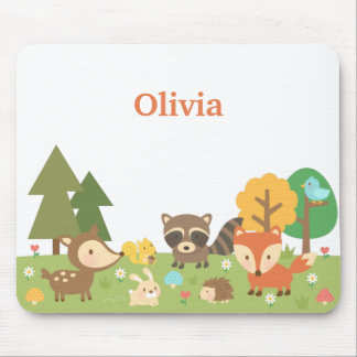 Cute Woodland Forest Animals and Creatures Mouse Pad