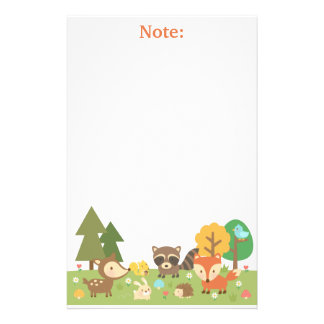 Cute Woodland Forest Animals and Creatures Stationery