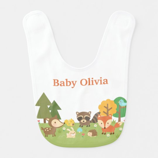 Cute Woodland Forest Animals For Babies Bib