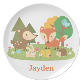 Cute Woodland Forest Animals For Kids Plate
