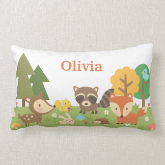 Cute Woodland Forest Animals Kids Room Decor Lumbar Cushion