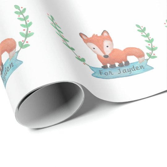 Cute Woodland Fox Kids Personalised Wrapping Paper