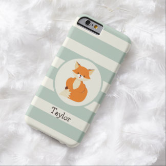 Cute Woodland Fox on Sage Green Stripes Barely There iPhone 6 Case