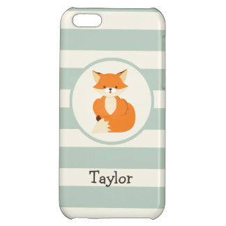 Cute Woodland Fox on Sage Green Stripes iPhone 5C Covers