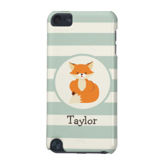 Cute Woodland Fox on Sage Green Stripes iPod Touch (5th Generation) Cases