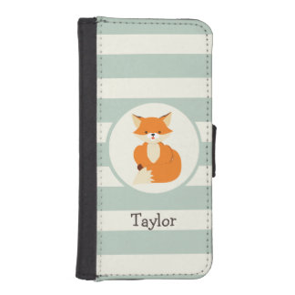 Cute Woodland Fox on Sage Green Stripes Phone Wallet