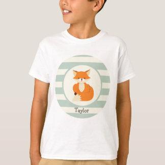 Cute Woodland Fox on Sage Green Stripes T-Shirt