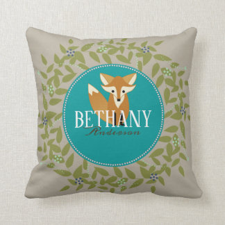 Cute Woodland Fox Rustic Name Nursery Kid Pillow