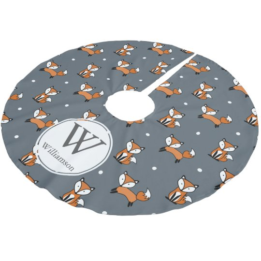 Cute Woodland Foxes & Polka Dots Personalised Brushed