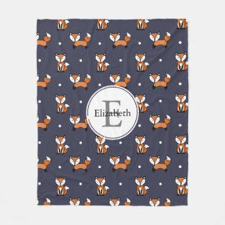 Cute Woodland Foxes Polka Dots Personalized Fleece Blanket