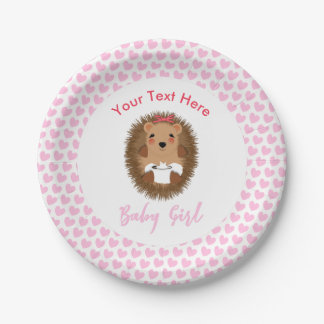 Cute Woodland Hedgehog Baby Shower Personalized Paper Plate