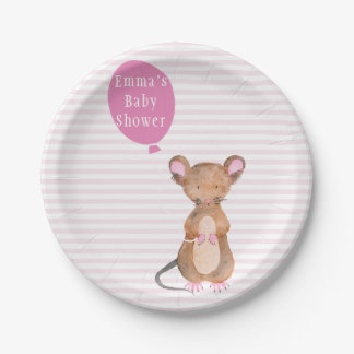 Cute Woodland Mouse   Baby Shower Paper Plates