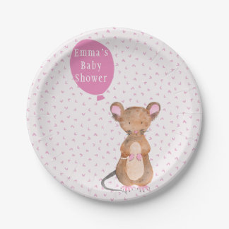 Cute Woodland Mouse | Baby Shower Paper Plates 7 Inch Paper Plate